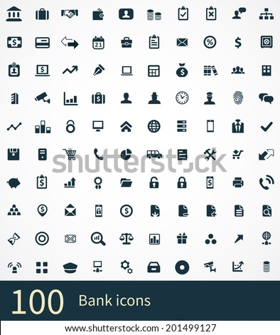 100 bank icons - stock vector