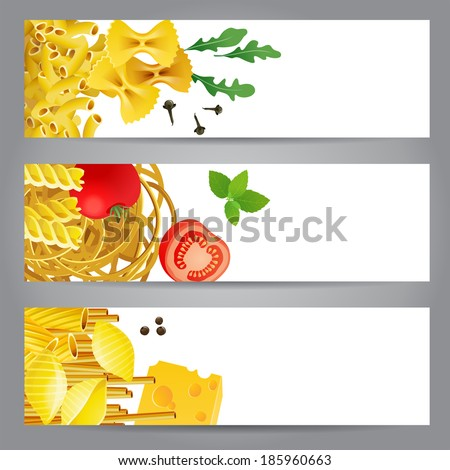 3 banners with different pasta types, tomatoes, mint and spices  - stock vector