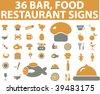 36 bar & food restaurant signs. vector - stock vector