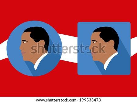06/19/2014: Barack Obama face side View Vector with blue Background in round and quadrat shape plus long Shadow. - stock vector