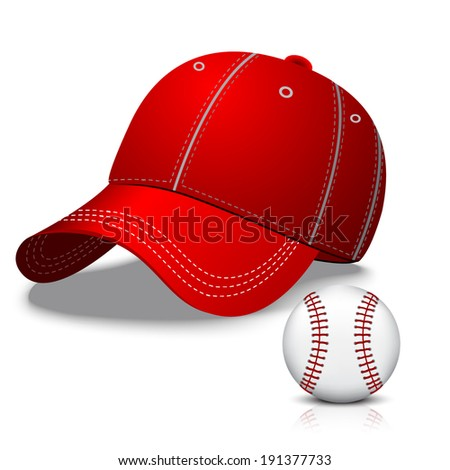 baseball ball and red cap - stock vector