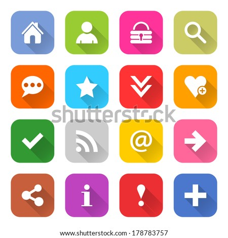 16 basic icon set 05 (white sign on color). Rounded square web button on white background. Simple minimalistic mono flat long shadow style. Vector illustration internet design graphic element 10 eps - stock vector