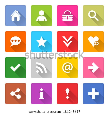 16 basic icon set 05 (white sign on color). Square web button on white background. Simple minimalistic mono flat long shadow style. Vector illustration internet design graphic element 10 eps - stock vector