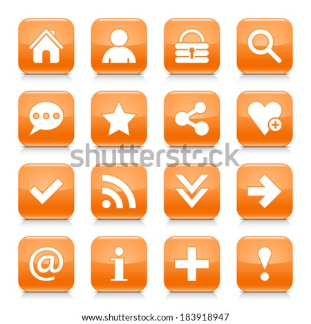 16 basic icon set 05. White sign on orange rounded square button with gray reflection, black shadow on white background. Glossy style. Vector illustration web design element in 8 eps - stock vector