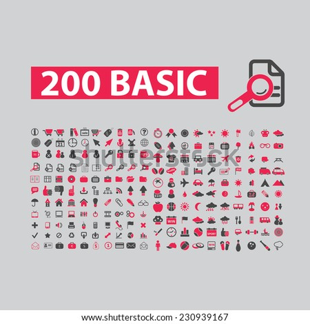200 basic website, internet icons, signs, illustrations set, vector - stock vector