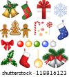Baubles, holly berry, tree, bells, socks, snowflake, gift, bow, cookies, candies, sugar cane and sweets. - stock vector