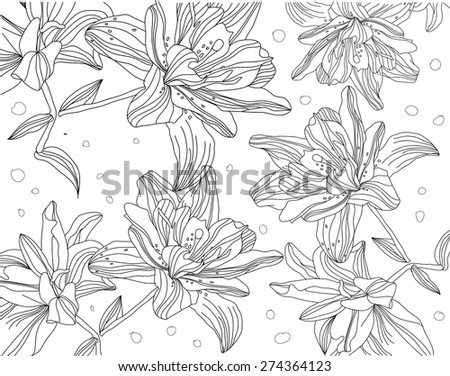 beautiful contour monochrome floral of lilies in black and white - stock vector