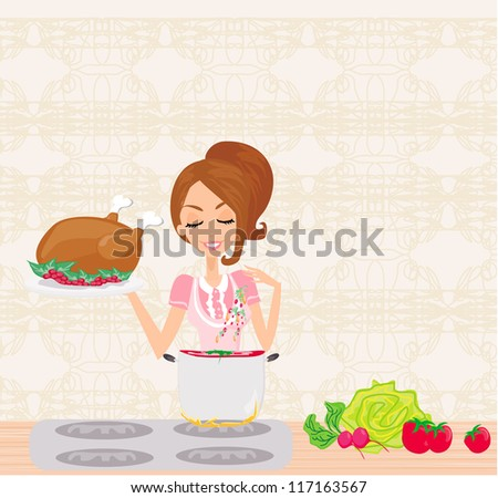 Beautiful lady cooking soup and serving chicken - stock vector