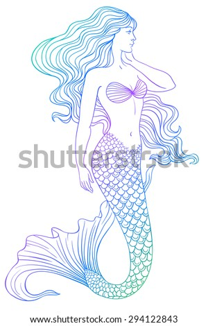 Beautiful mermaid outline vector hand drawn illustration - stock vector