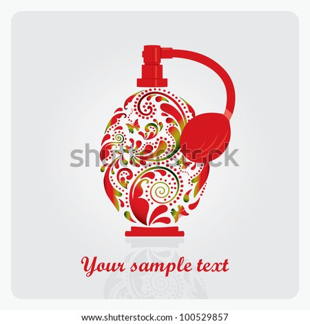 Beautiful perfume bottle, made of the leaf pattern. Vector EPS10 illustration. - stock vector