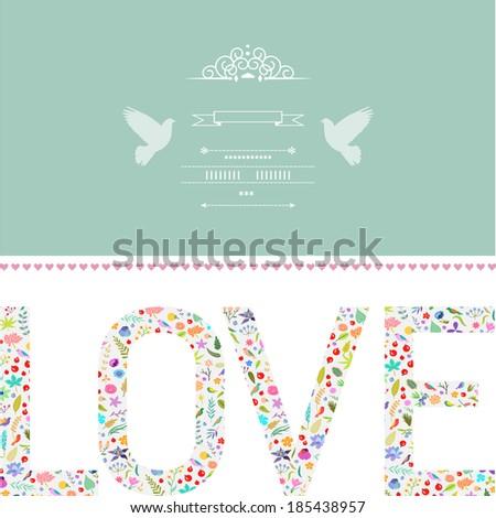 Beautiful  romantic card. Hand drawn vector illustration. - stock vector
