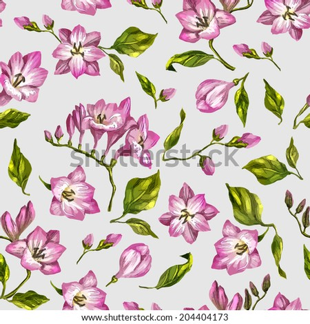 Beautiful seamless floral pattern, flower vector illustration. Elegance wallpaper with of pink freesia on floral background. Decorative Beautiful vector illustration texture.  - stock vector