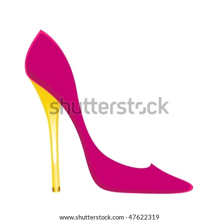beautiful womanish sexy shoes on a white background - stock vector