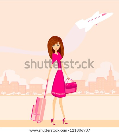 beauty travel girl with baggage - stock vector