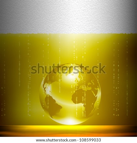 Beer background with globe. Conceptual vector illustration - stock vector