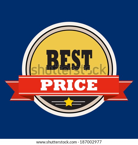 Best price - label with red  ribbons. - stock vector