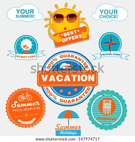 best quality labels with sun - stock vector