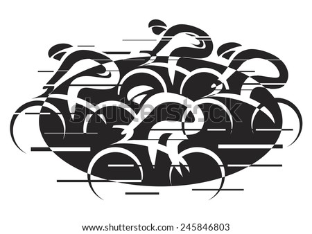 Bicycle road racing. Black vector illustration of cycling race with four bike riders on the white background. Imitating hand ink drawing.  - stock vector