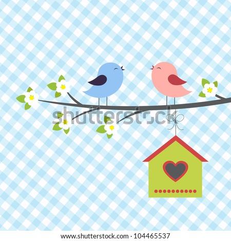 Birds sings in springtime. Vector illustration - stock vector