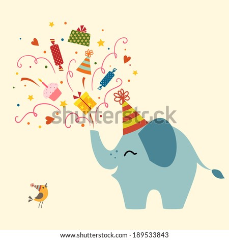 Birthday greetings from cute elephant. - stock vector
