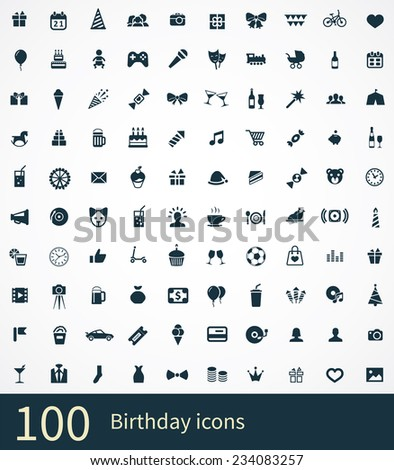 100 birthday icon on white background  - stock vector