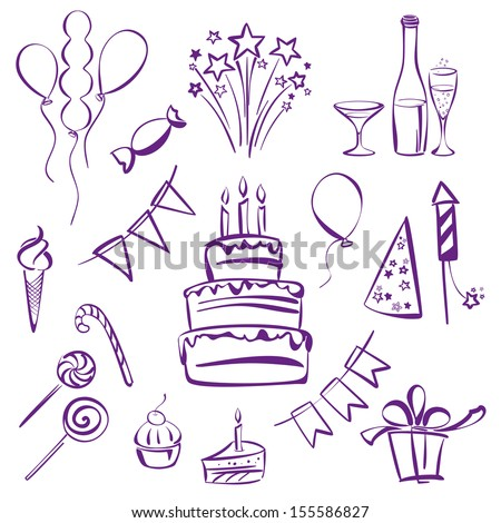 birthday party set silhouette vector illustration  sketch - stock vector
