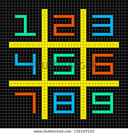 8-bit Pixel Art with Numbers 1-9 in a Sudoku Grid - stock vector