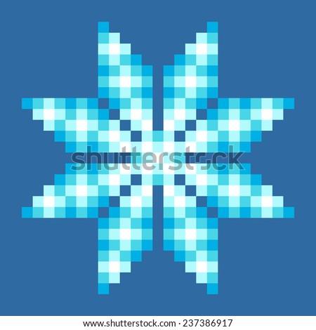 8-Bit Pixel Crystalline Snowflake - stock vector