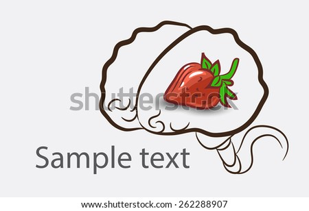 Black and white doodle brain background with strawberries and place for sample text - stock vector