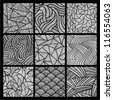 9 black and white ornamental seamless vector patterns. - stock vector