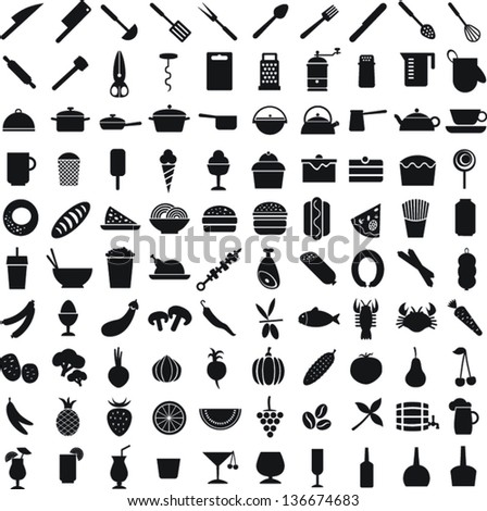 100 black vector icons of food  on white background - stock vector