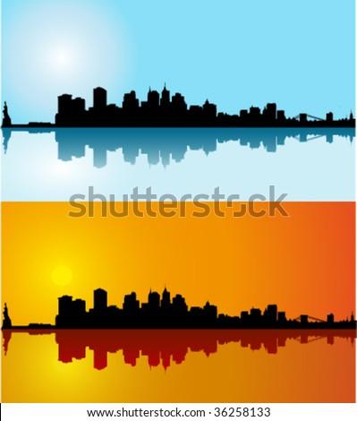 Black vector New York silhouette skyline on day - stock vector