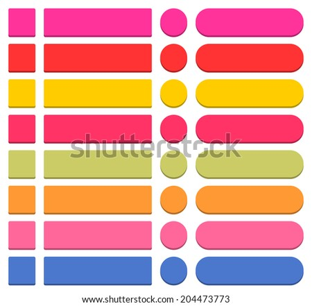 32 blank icon in flat style 3D button square, rectangle, circle shapes on white background. Pink, red, yellow, magenta, green, orange, blue colors. Vector illustration in 8 eps - stock vector