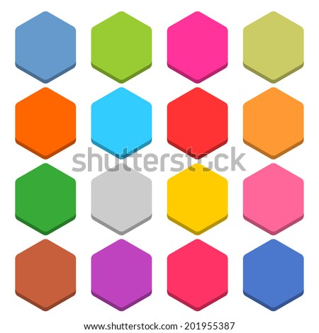 16 blank icon in flat style. Hexagon 3D button on white background. Blue, red, yellow, gray, green, pink, orange, brown, violet colors. Vector illustration web internet design element in 8 eps - stock vector