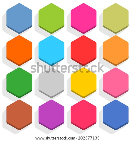 16 blank icon in flat style. Hexagon 3D button with shadow on white background. Blue, red, yellow, gray, green, pink, orange, brown, violet colors. Vector illustration web design element in 8 eps - stock vector