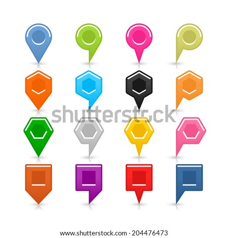 16 blank map pins sign location icon with shadow reflection on white background. Set 01 Blue green pink orange gray black yellow brown violet colors shapes. Vector illustration web design save 8 eps - stock vector