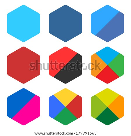 9 blank rounded hexagon icon set. Popular color web button on white background. Flat newest simple clean plain tidy solid style. Internet design element save in vector illustration 8 eps - stock vector