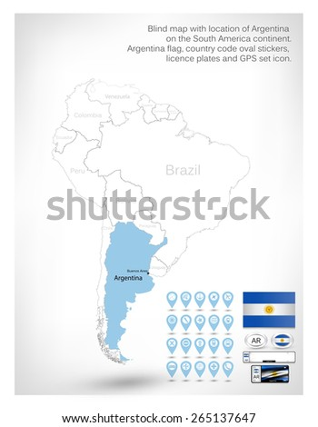 Blind map with location of Argentina on the South America continent. Argentina flag, country code oval stickers, licence plates and GPS set icon. - stock vector