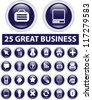 24 blue business buttons, icons set, vector - stock vector