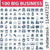 100 blue business icons set, vector - stock vector