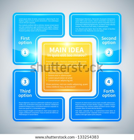 4 blue glossy options, arranged in a square around the main idea. - stock vector