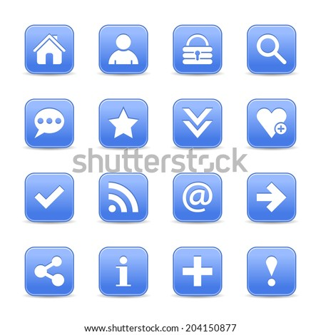 16 blue satin icon with basic sign. Rounded square web internet button with gray shadow on white background. Vector illustration design element 8 eps - stock vector