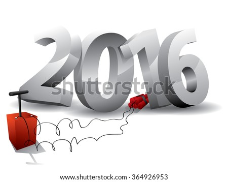 2016  Bomb - 3d text with Dynamite - stock vector