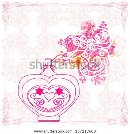 Bottle of perfume with a floral aroma - stock vector