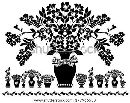 Bouquets of flowers in a vases. Vector Version - stock vector