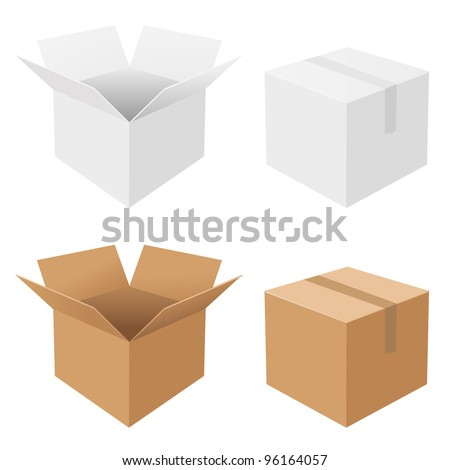 4 Boxes, Isolated On White Background - stock vector