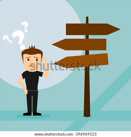 boys cartoon character confused on crossroads  - stock vector