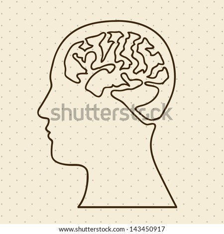 brain silhouette over dotted background vector illustration - stock vector