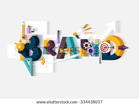 Brand word. Concept illustration. - stock vector