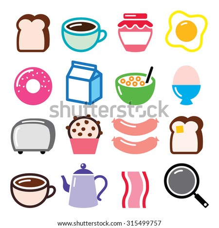 Breakfast food vector icons set - toast, eggs, bacon, coffee  - stock vector